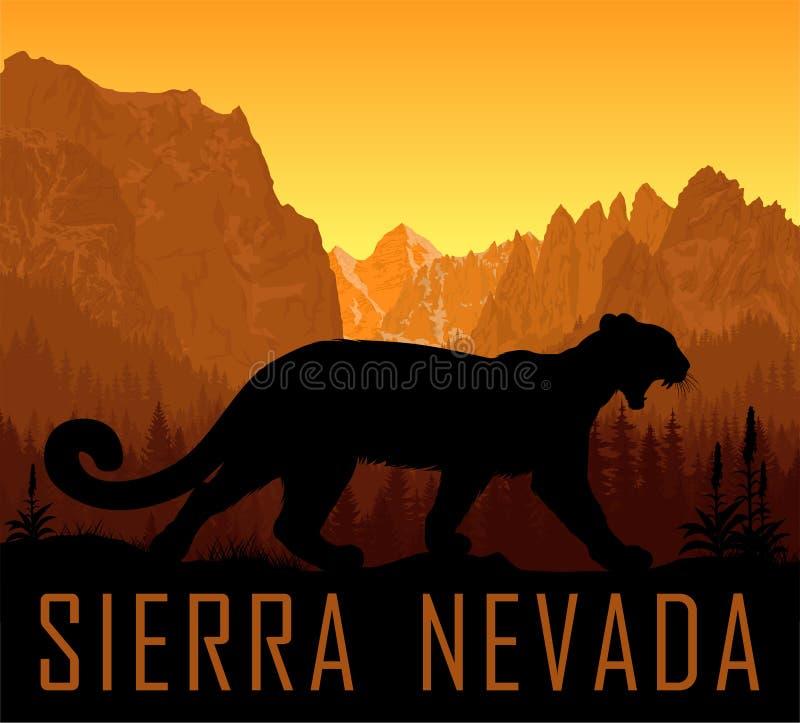 Montanhas da escala de Sierra Nevada do vetor com o concolor do puma do puma do puma ilustração royalty free
