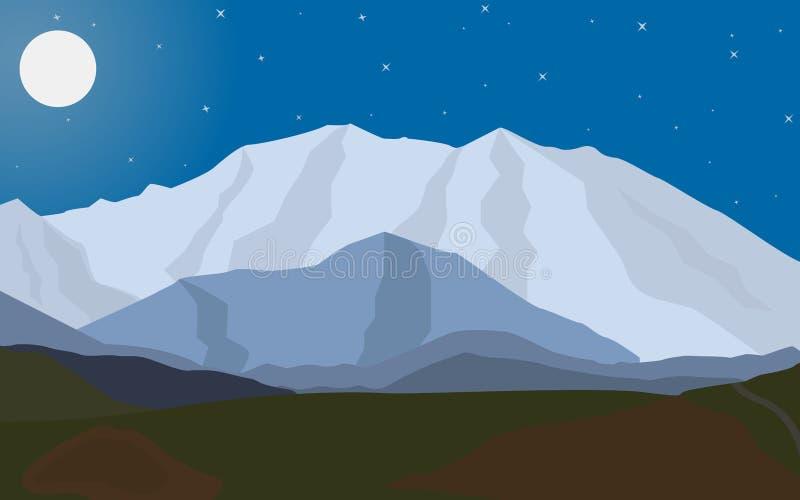 Montanhas da noite da paisagem do vetor com a lua ilustração royalty free