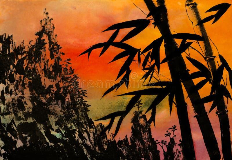 Montanhas de bambu e por do sol ilustração do vetor