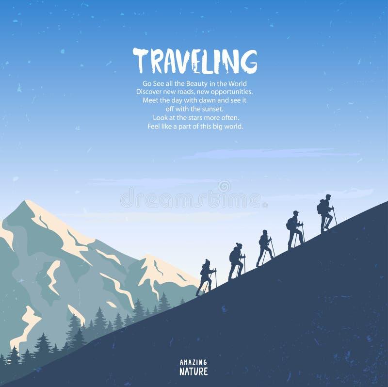 Montanhas de escalada ilustração do vetor