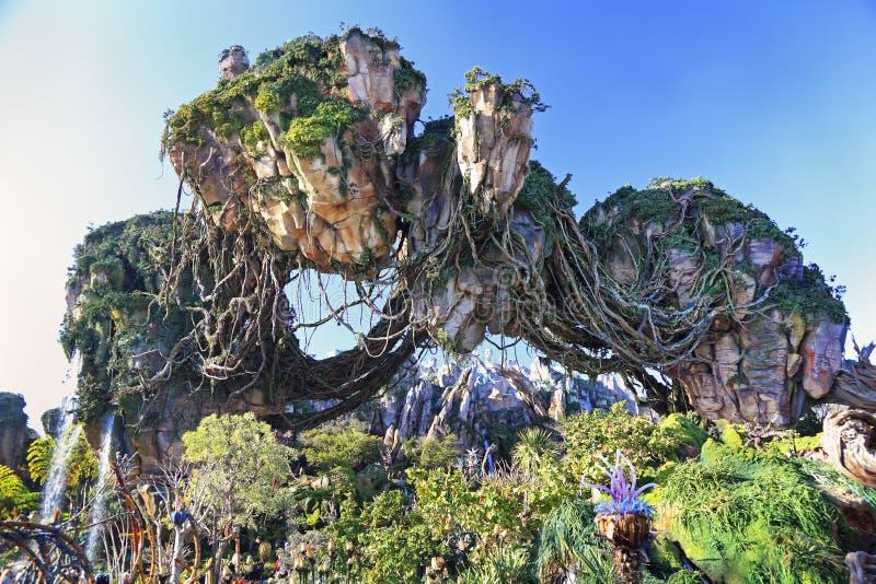 Montanhas de flutuação em Pandora, terra do Avatar, reino animal, Walt Disney World, Orlando, Florida imagens de stock royalty free