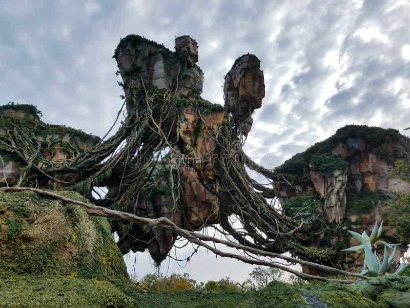 Montanhas de flutuação de Pandora em Disney fotografia de stock