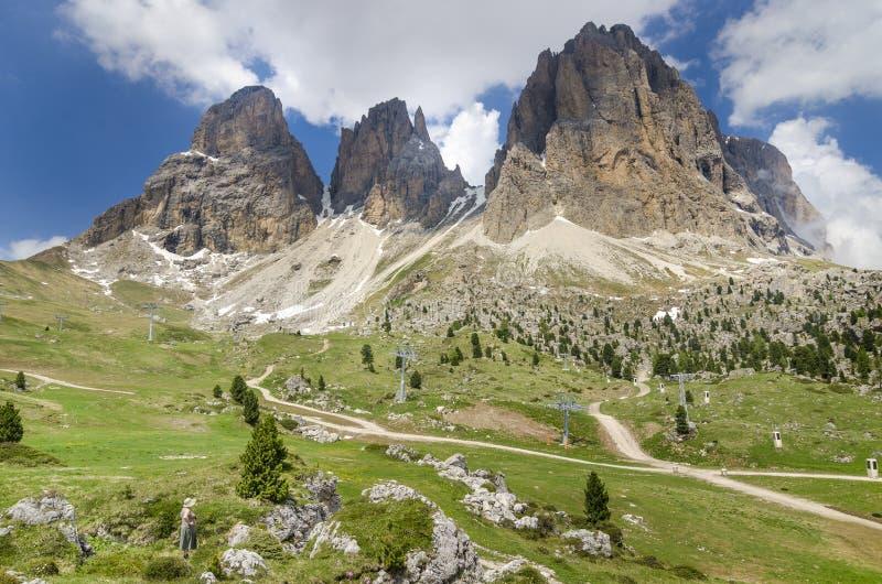 Montanhas de Langkofel (Sassolungo) fotografia de stock royalty free