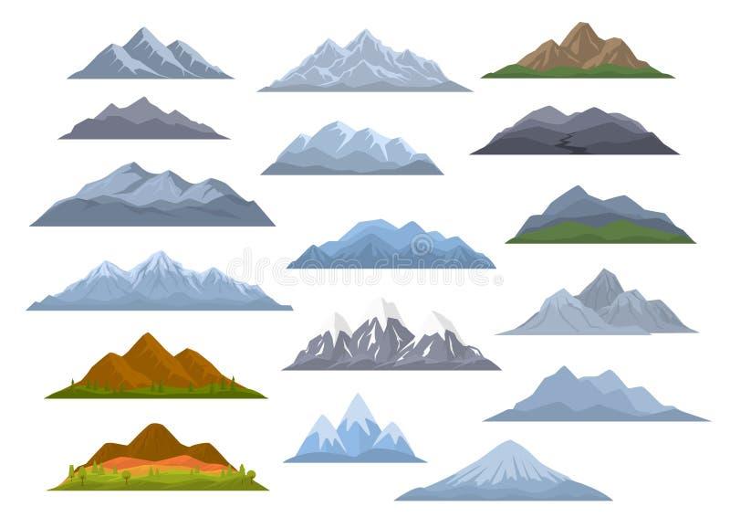 Montanhas diferentes ajustadas, vetor gráfico isolado dos desenhos animados ilustração royalty free