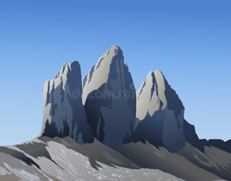 Montanhas do CIME di Lavaredo de Tre ilustração stock