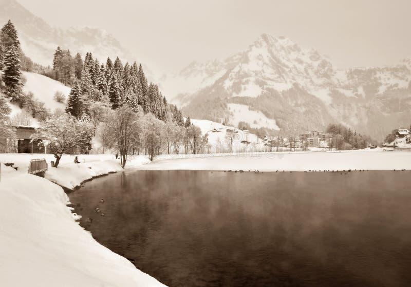 Montanhas do lago winter foto de stock