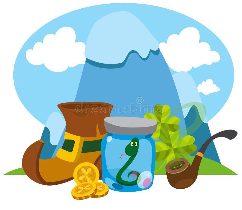 Montanhas, duende das botas, uma serpente em um frasco de vidro St Patrick ilustração royalty free