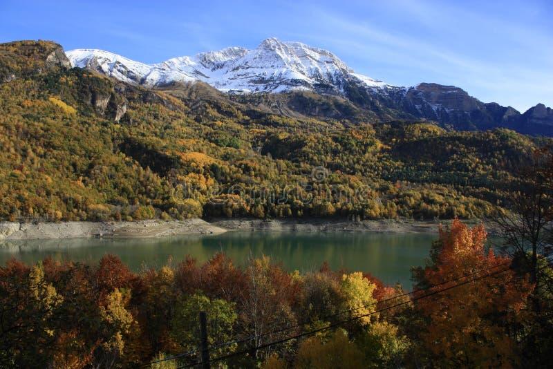 Montanhas e árvores em Pyrenees, BLANCA de Peña imagens de stock