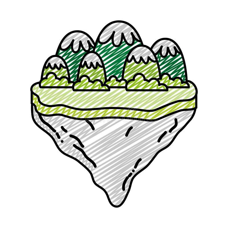 Montanhas e arbustos do gelo da garatuja na ilha do flutuador ilustração royalty free