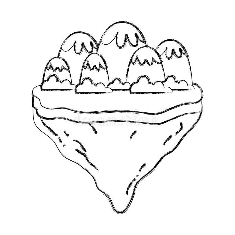 Montanhas e arbustos do gelo do Grunge na ilha do flutuador ilustração royalty free