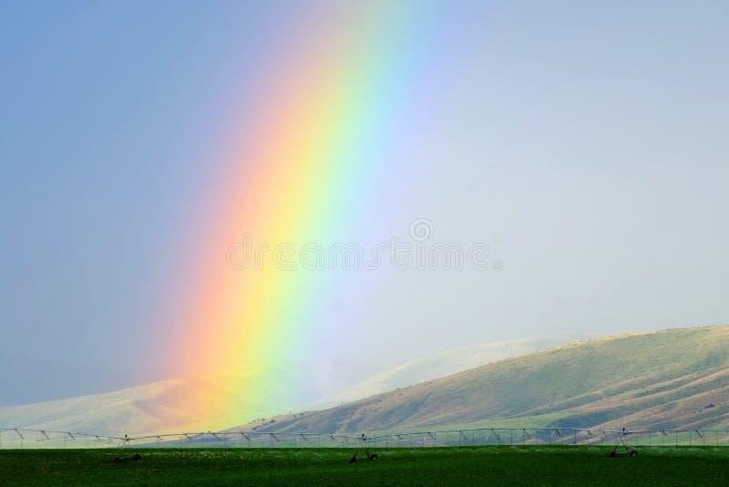 Montanhas e arco-íris na tempestade da chuva imagem de stock