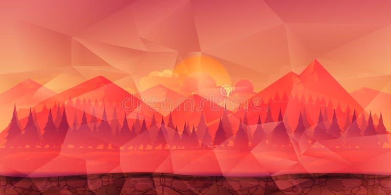 Montanhas e fundo poligonal da floresta para o jogo, o papel de parede etc. ilustração royalty free