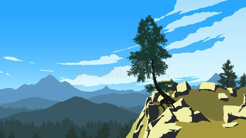 Montanhas e ilustração da paisagem da floresta foto de stock
