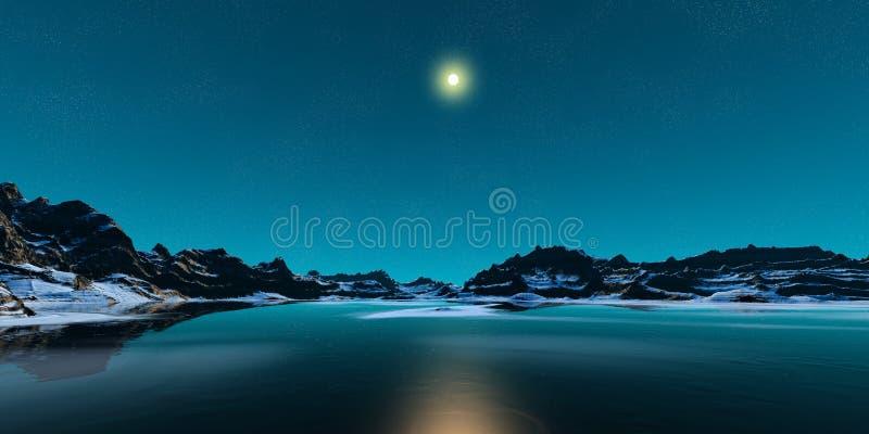 Montanhas e lago do inverno ilustração stock