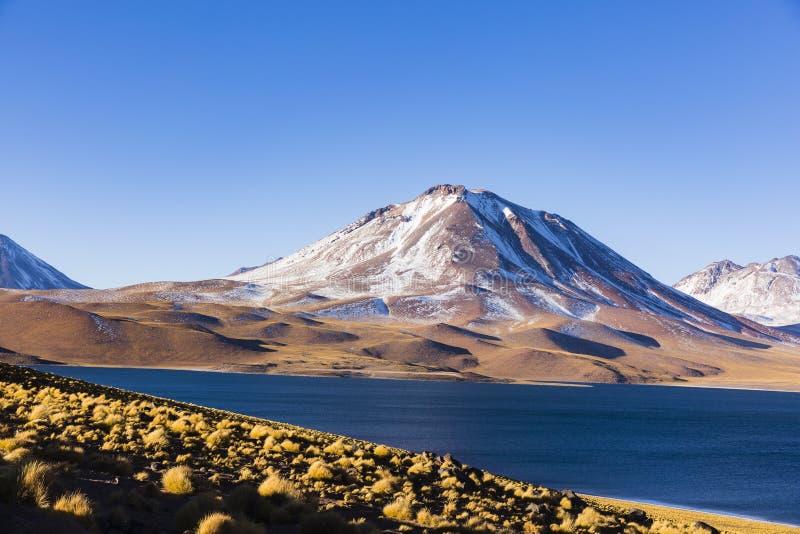 Montanhas e lago na reserva nacional dos flamencos do Los fotos de stock royalty free