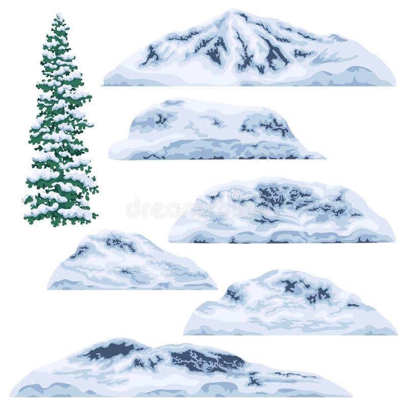 montanhas e montes Neve-tampados ilustração do vetor