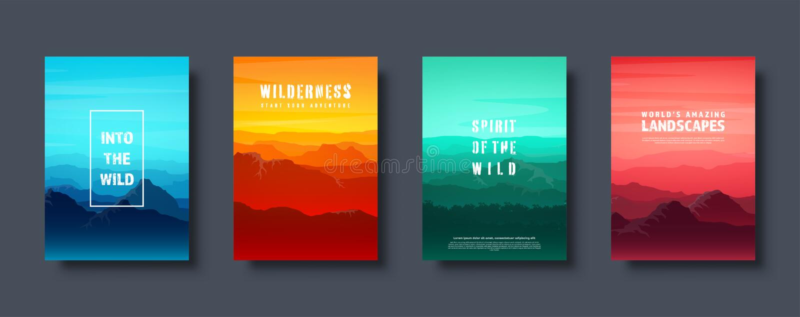 Montanhas e paisagem selvagem da natureza da floresta Curso e aventura Panorama Nas madeiras Linha do horizonte r ilustração stock