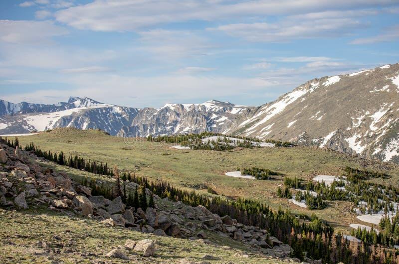 Montanhas e prado em um dia de verão em Rocky Mountain National Park fotos de stock