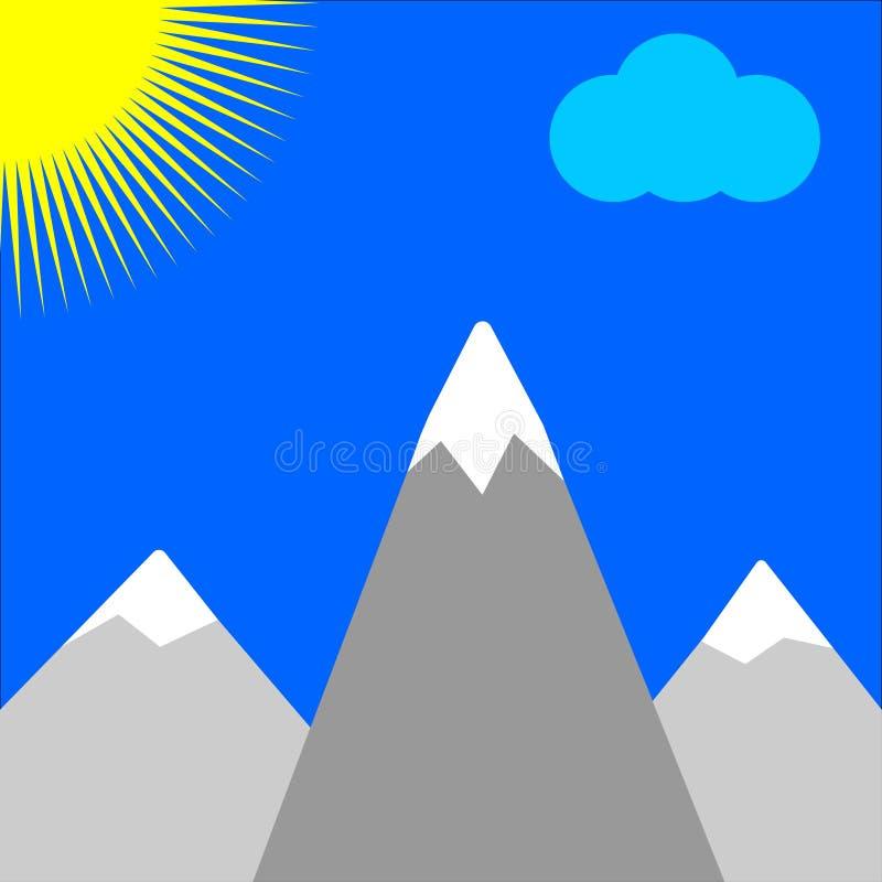 Montanhas e sol ilustração royalty free