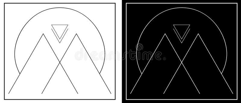 Montanhas e sol abstratos das linhas logotipo minimalistic da geometria ilustração do vetor