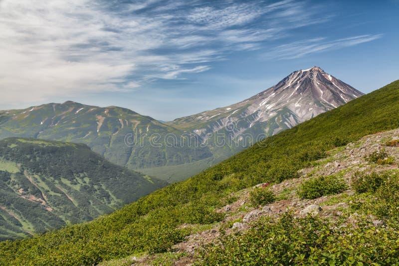 Montanhas e vulcões Paisagem bonita de Kamchatka Penins fotos de stock