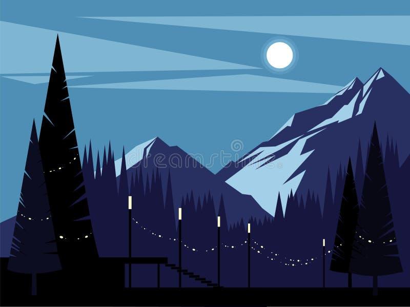 Montanhas em uma noite enluarada Fundo ilustração stock