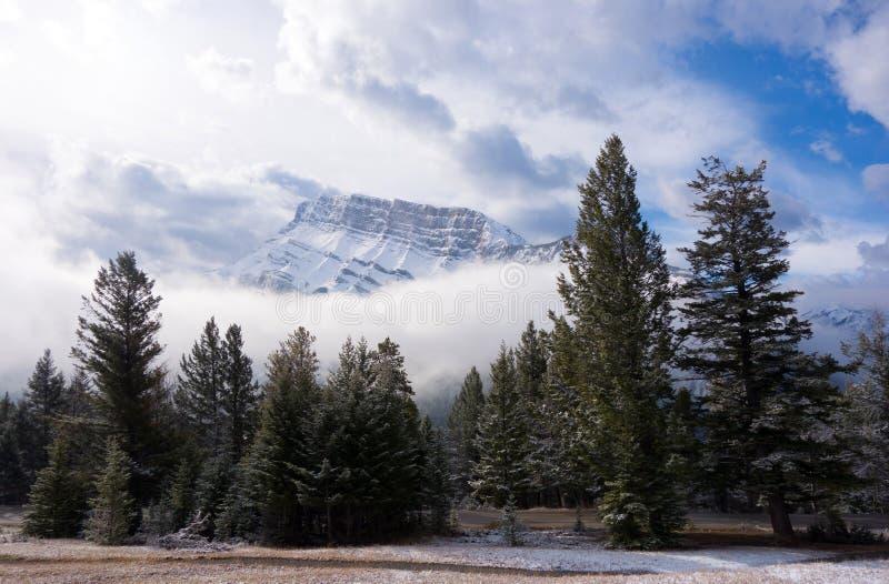 Montanhas encobertas na névoa da manhã imagem de stock