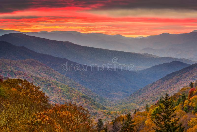 Montanhas fumarentos parque nacional, outono de Tennessee, EUA fotos de stock