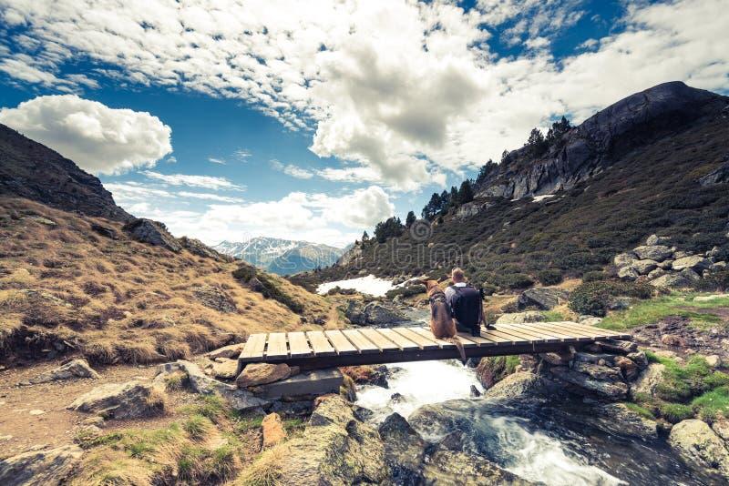 Montanhas, hikker e cão de Adorra imagens de stock royalty free