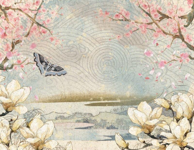 Montanhas japonesas - vintage Japão - Cherry Blossoms - magnólias - papel de fundo - japonês ilustração stock