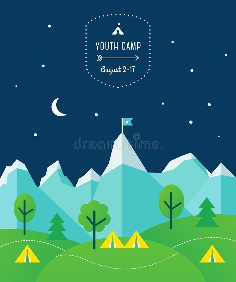 Montanhas, montes, árvores e barracas no fundo do céu noturno Disposição do cartaz do acampamento da barraca ilustração royalty free