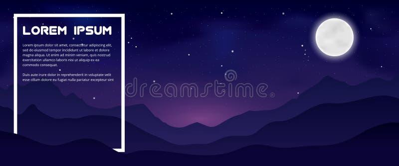 Montanhas na noite ilustração stock