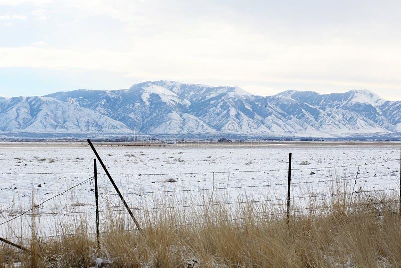 Montanhas nevado e cerca fotografia de stock royalty free