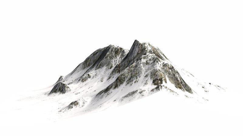Montanhas nevado - pico de montanha - isoladas no fundo branco fotografia de stock