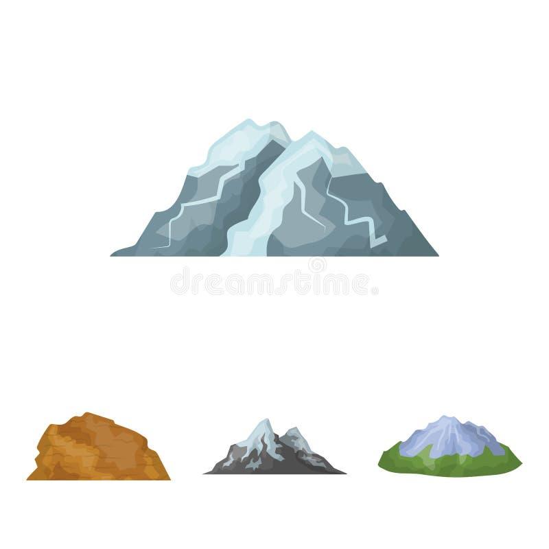 Montanhas no deserto, um pico nevado, uma ilha com uma geleira, uma montanha neve-tampada Montanhas diferentes ajustadas ilustração royalty free
