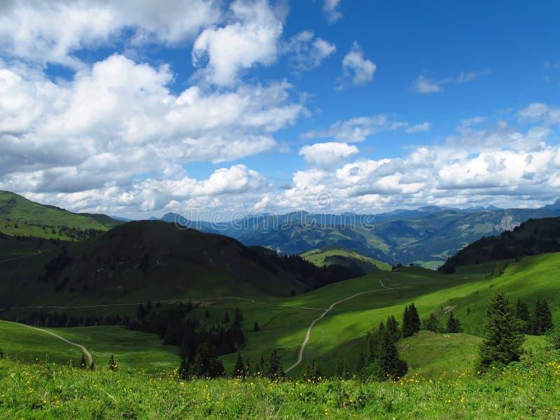 Montanhas no horizonte com formas redondas, céu azul nublado, prados no primeiro plano, imagens de stock