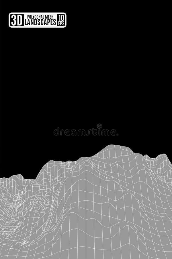 Montanhas poligonais cinzentas e fundo preto do céu para o presentati ilustração royalty free