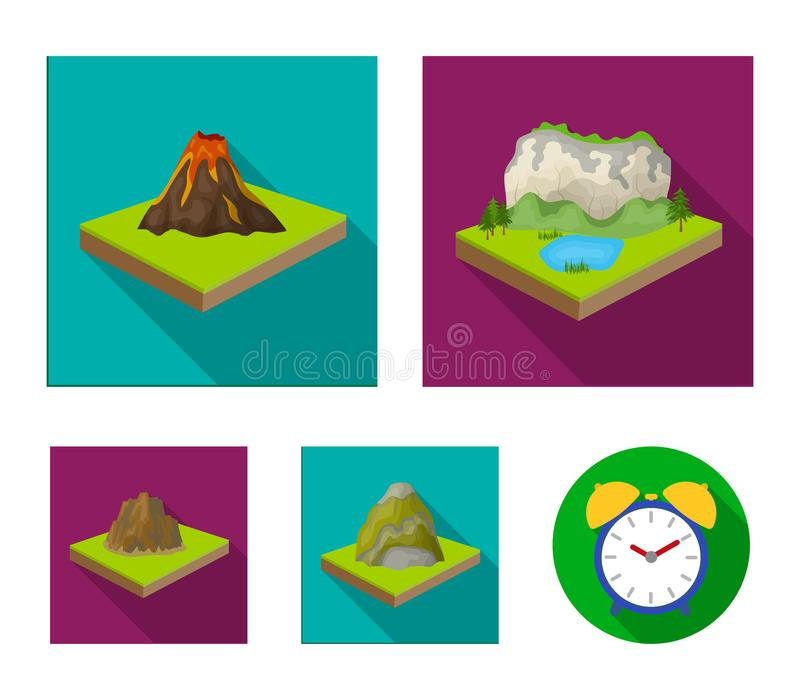 Montanhas, rochas e paisagem O relevo e as montanhas ajustaram ícones da coleção no estoque isométrico do símbolo do vetor do est ilustração stock