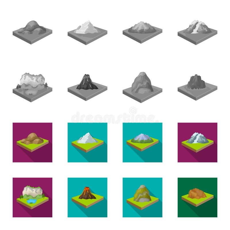Montanhas, rochas e paisagem O relevo e as montanhas ajustaram ícones da coleção no vetor isométrico do estilo monocromático, lis ilustração do vetor