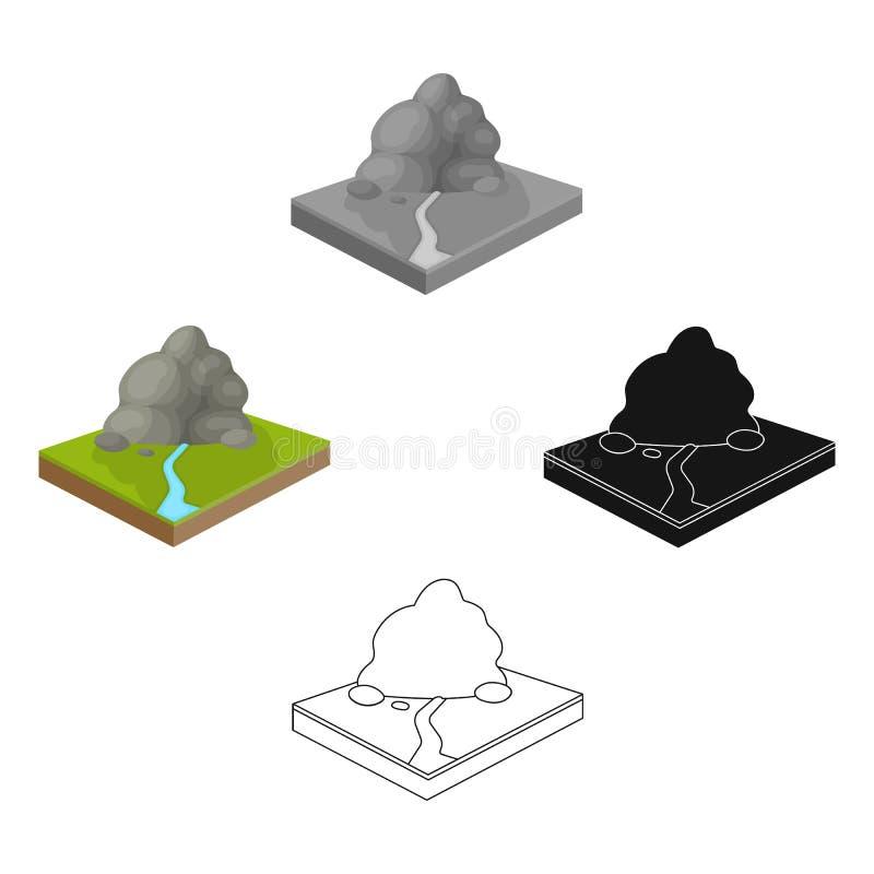 Montanhas, rochas e paisagem Relevo e ?cone das montanhas ?nico nos desenhos animados, estoque isom?trico do s?mbolo do vetor do  ilustração royalty free
