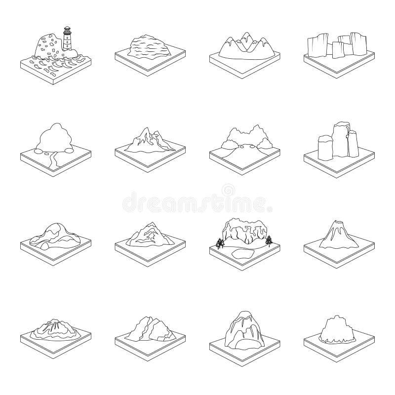 Montanhas, rochas, farol, vulcão e outros relevos da terra As montanhas e as paisagens ajustaram ícones da coleção no esboço ilustração royalty free