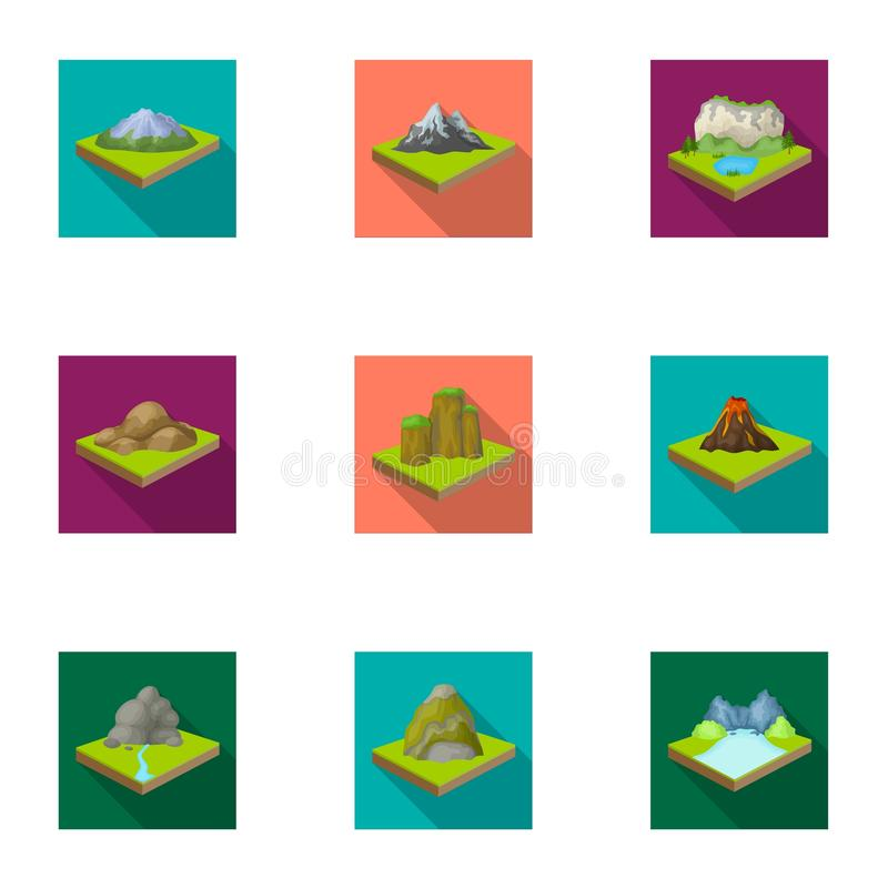 Montanhas, rochas, farol, vulcão e outros relevos da terra As montanhas e as paisagens ajustaram ícones da coleção no plano ilustração stock