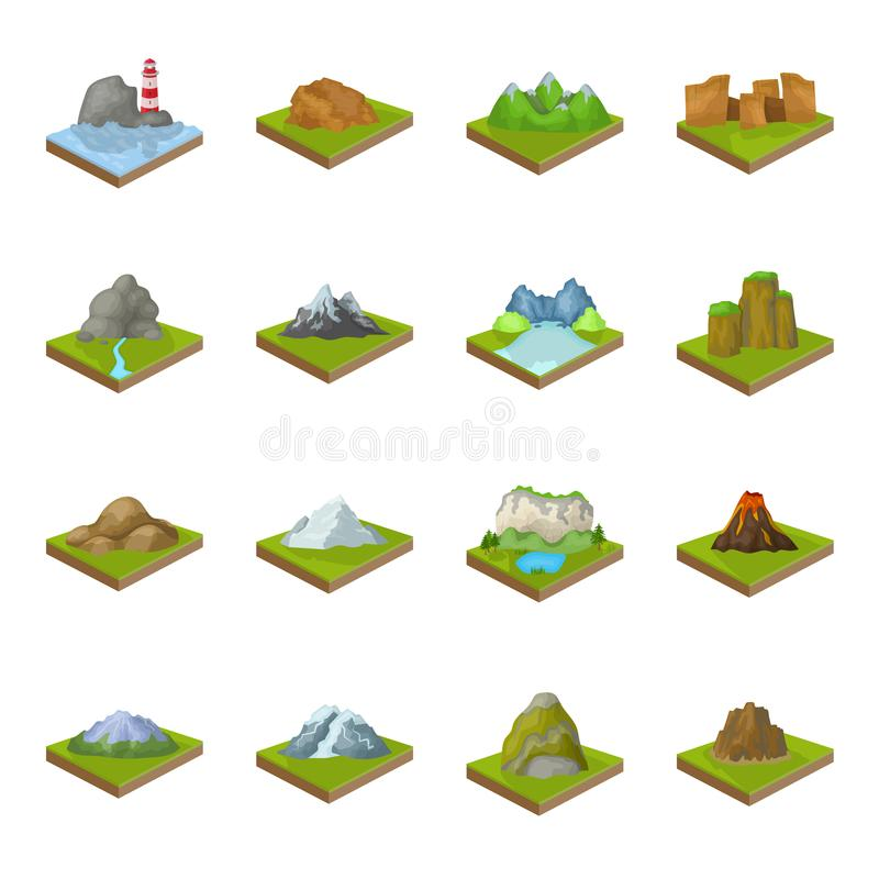 Montanhas, rochas, farol, vulcão e outros relevos da terra As montanhas e as paisagens ajustaram ícones da coleção nos desenhos a ilustração do vetor