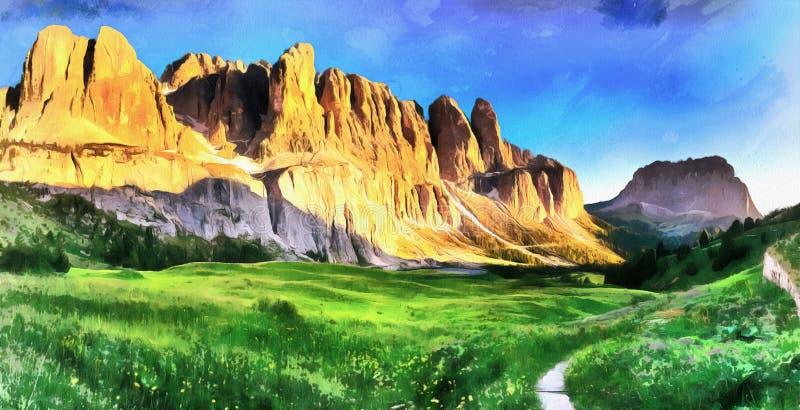 Montanhas rochosas no por do sol ALPES DA DOLOMITE, ITALY ilustração stock