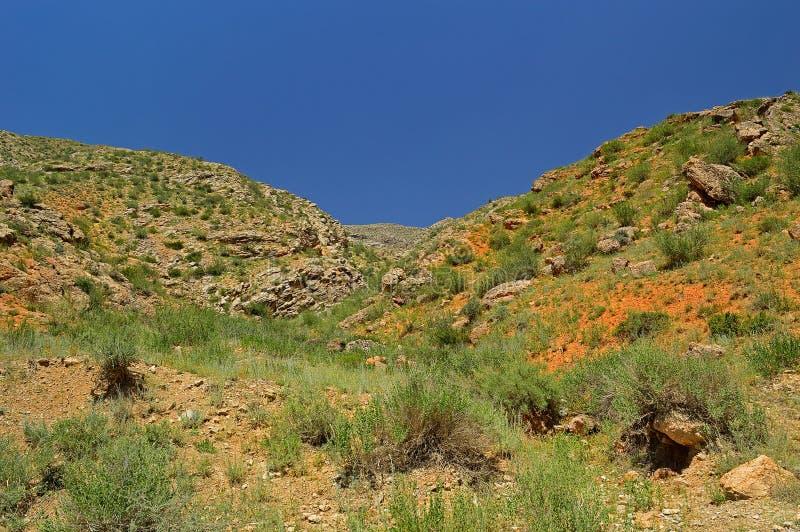 Montanhas rochosas vermelhas perto da cidade de Tamasha imagens de stock