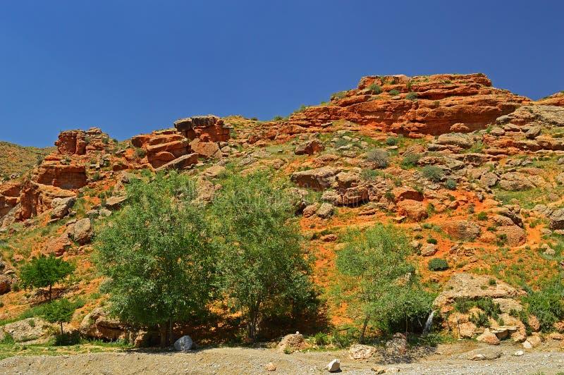 Montanhas rochosas vermelhas perto da cidade de Tamasha fotografia de stock