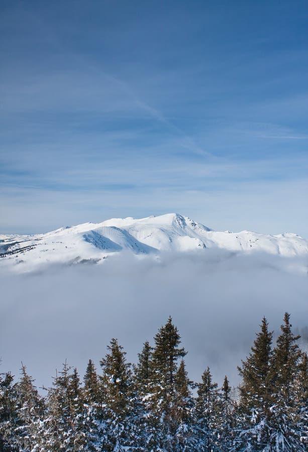 Montanhas sob a neve foto de stock