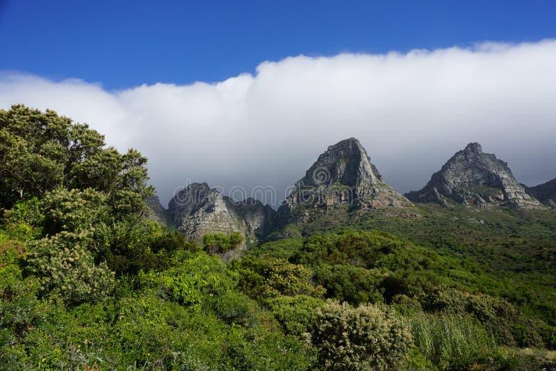 Montanhas verdes perto de Capetown fotos de stock royalty free