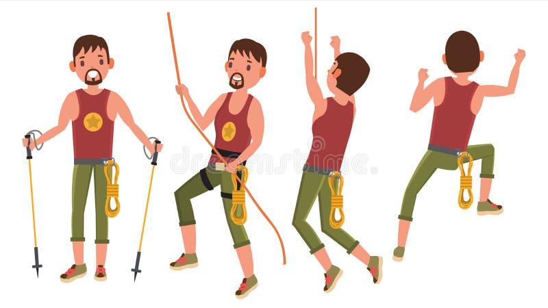 Montanhista ajustado no vetor da ação Esporte de Bouldering, passatempo alto ilustração do vetor