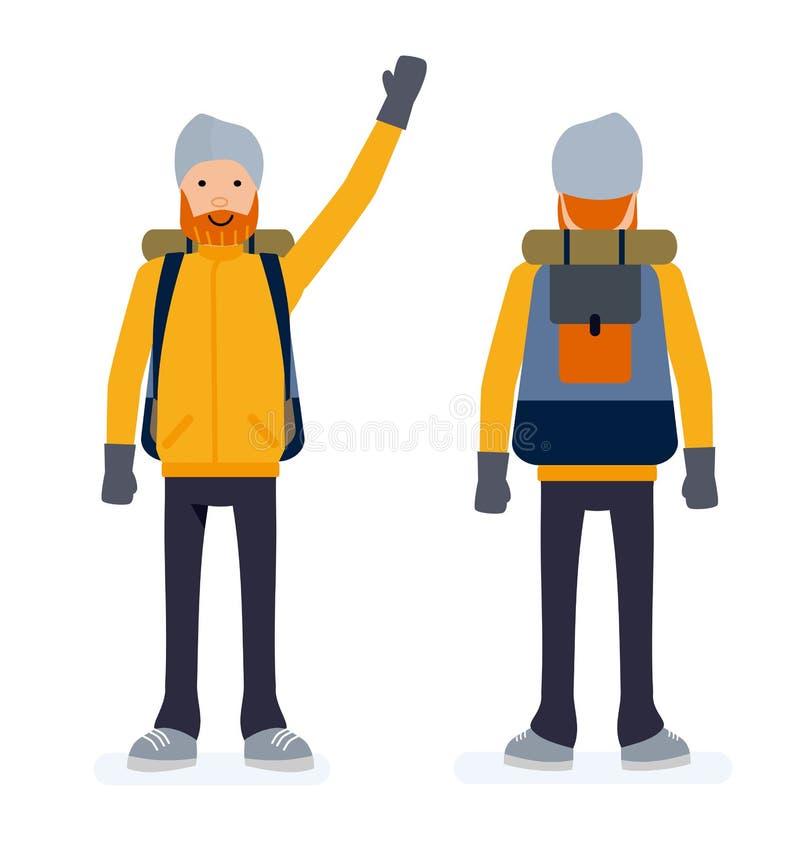 Montanhista branco caucasiano alegre Alpinista de sorriso novo Ilustração lisa dos desenhos animados isolada no fundo branco ilustração do vetor